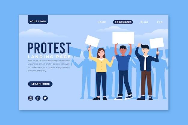Proteststreik-landingpage Kostenlosen Vektoren