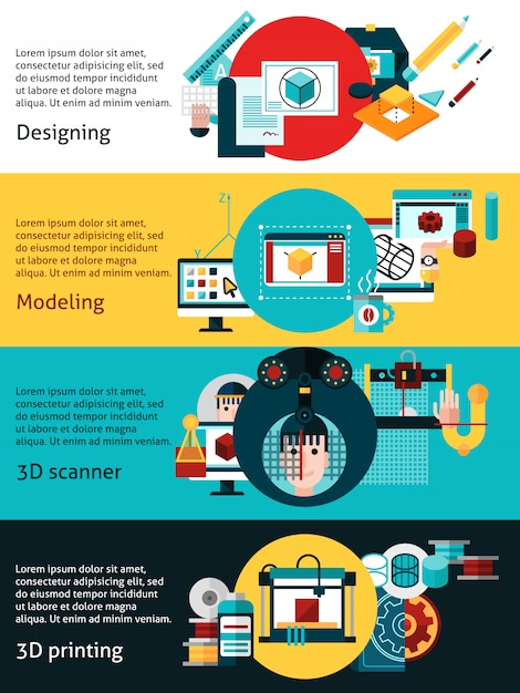 Prototyping und modellierung von horizontalen banner Kostenlosen Vektoren