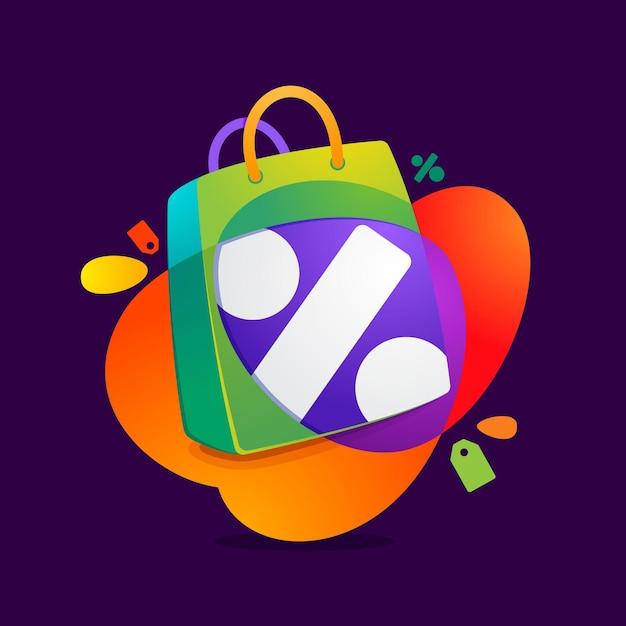 Prozent symbol mit einkaufstaschensymbol und verkaufstag. Premium Vektoren