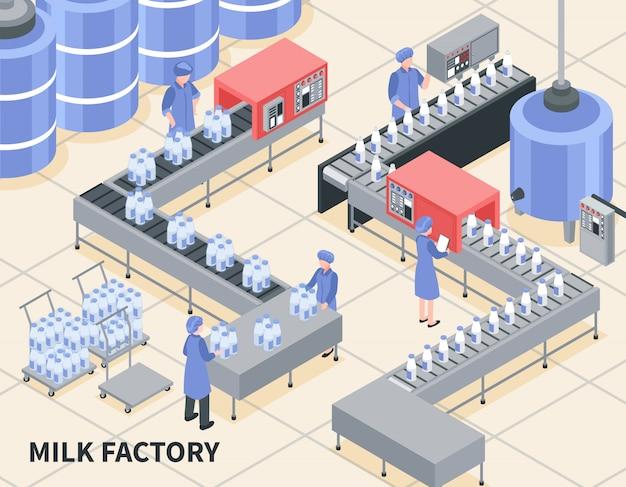 Prozess der milchverpackung auf isometrischer illustration der fabrik Kostenlosen Vektoren