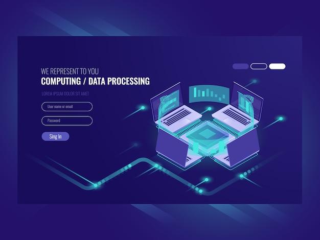 Prozess der verarbeitung und berechnung großer datenmengen, serverraum, webhosting vps serverraum Kostenlosen Vektoren