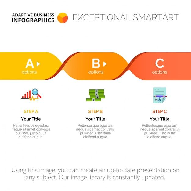 Prozessdiagramm mit drei Schritten Vorlage | Download der ...