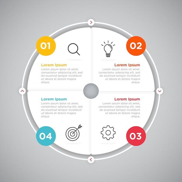 Prozessgeschäft infografik kreis präsentation Premium Vektoren