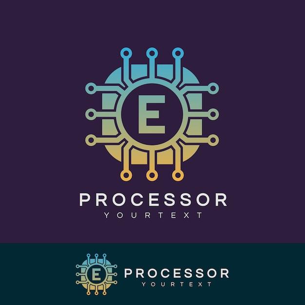 Prozessor anfangsbuchstaben e logo design Premium Vektoren