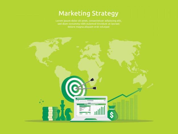 Prüfung der marketingstrategie und der geschäftsanalyse mit diagrammen Premium Vektoren