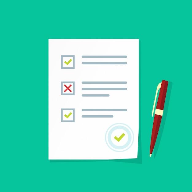 Prüfungstestergebnisse oder flache karikatur des übersichtsquizpapierblatt-vektors Premium Vektoren