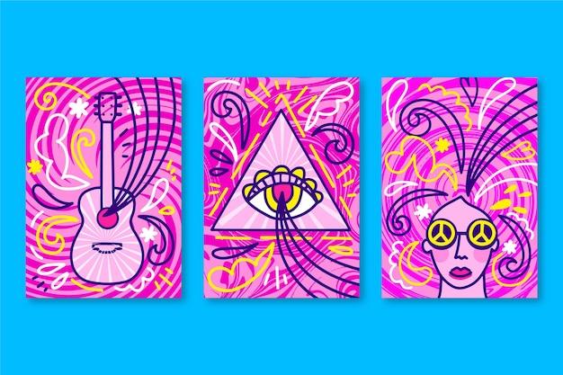 Psychedelische musik umfasst sammlung Kostenlosen Vektoren