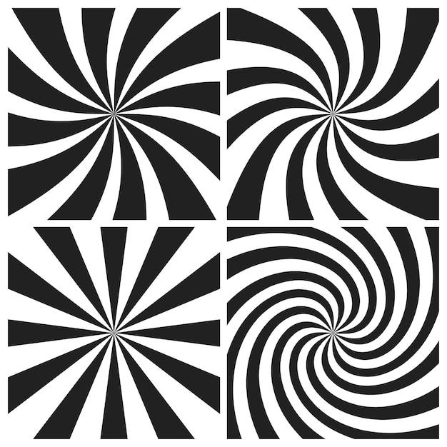 Psychedelische spirale mit den radialen grauen strahlenhintergründen eingestellt Premium Vektoren