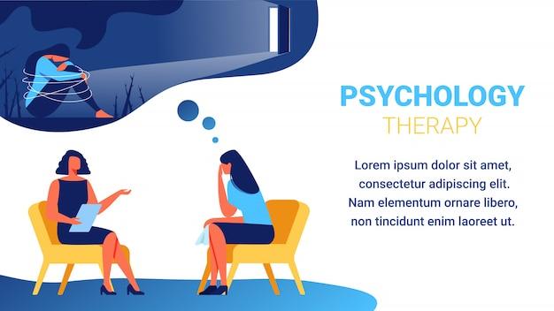 Psychologe nahe frau mit taschentuch in der hand. Premium Vektoren
