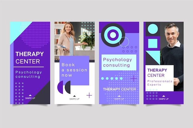 Psychologie instagram geschichten sammlung Kostenlosen Vektoren