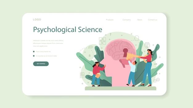Psychologie-webbanner oder landingpage. Premium Vektoren