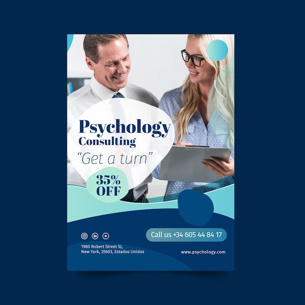 Psychologieberatung erhalten eine plakatvorlage Kostenlosen Vektoren