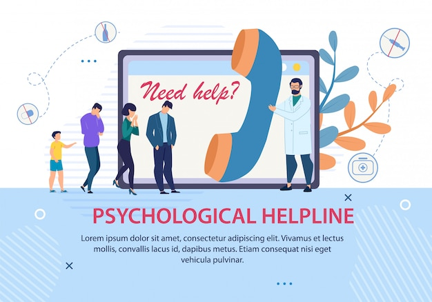 Psychologische helpline werbetext banner Premium Vektoren