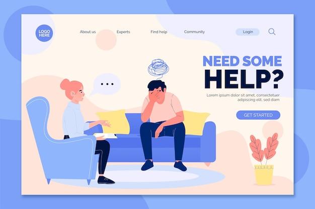 Psychologische hilfe - landing page Kostenlosen Vektoren