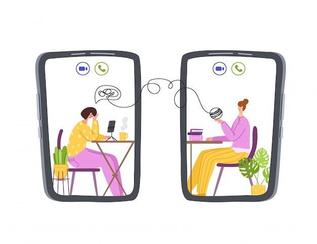 Psychologische online-dienste - persönliche fernunterstützung oder unterstützung zu hause per internet Premium Vektoren