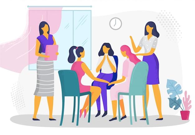 Psychologische therapie für frauen. weibliche psychotherapeutische selbsthilfegruppe, häusliche familiäre gewaltprobleme beratung vektorillustration Premium Vektoren
