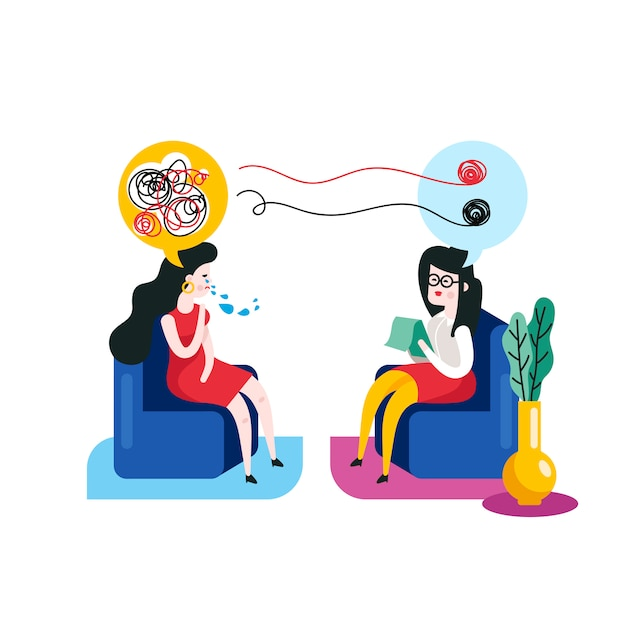 Psychotherapie-konzept. frau bei einer psychotherapie-sitzung mit einer psychotherapeut-vektorillustration. Premium Vektoren