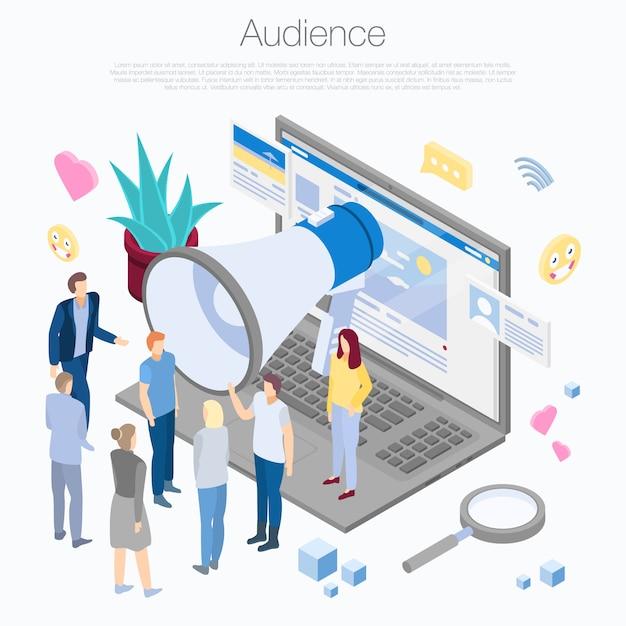 Publikumskonzepthintergrund, isometrische art Premium Vektoren