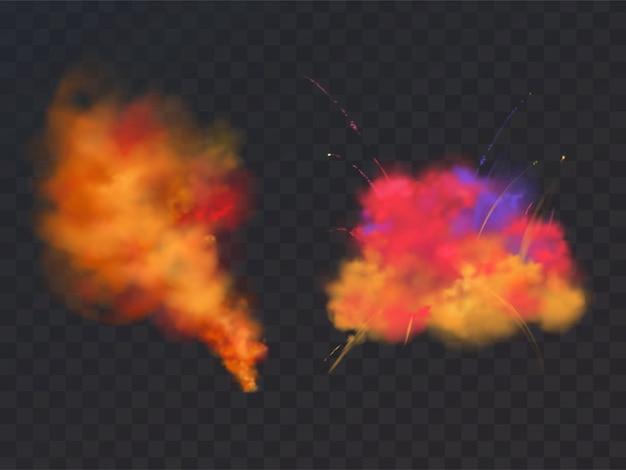 Puder-explosion des lackes 3d realistisch auf transparentem hintergrund. symbol des holi-festivals Kostenlosen Vektoren