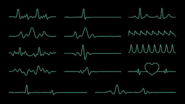 Pulslinie-vektorsammlung für element über herzfrequenz und kardiogrammmonitor. Premium Vektoren