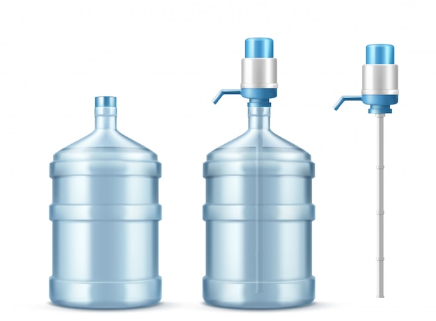 Pumpenkühler und große flasche für sauberes wasser Kostenlosen Vektoren