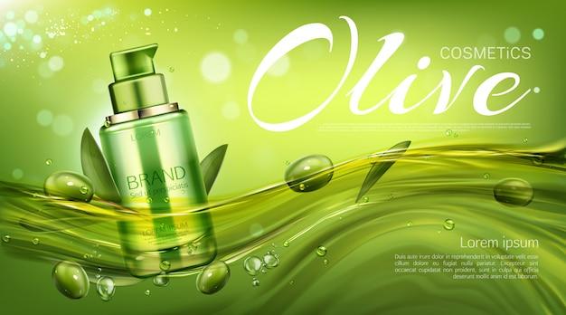 Pumpflasche für olivenkosmetik, natürliches schönheitsprodukt, öko-kosmetiktube, die mit beeren und blättern schwimmt. befeuchten sie promo-banner-vorlage Kostenlosen Vektoren
