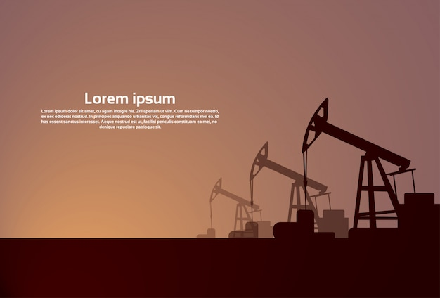 Pumpjack-ölplattform-kran-plattform-fahne Premium Vektoren
