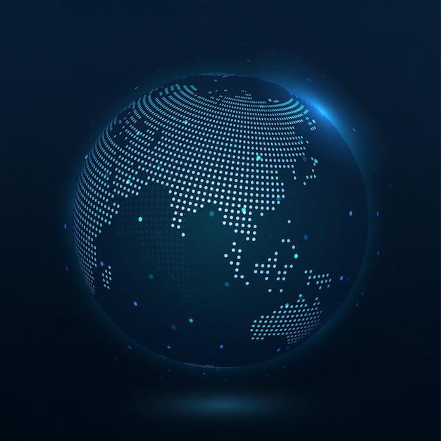 Punkt zusammengesetzte weltkarte asien, die die globale verbindung darstellt Premium Vektoren