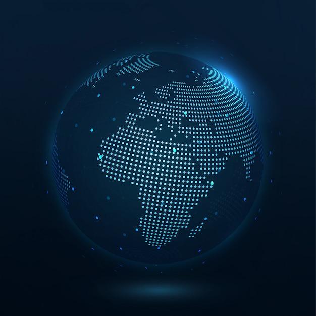 Punktkomposierte weltkarte europa, die die globale verbindung darstellt Premium Vektoren