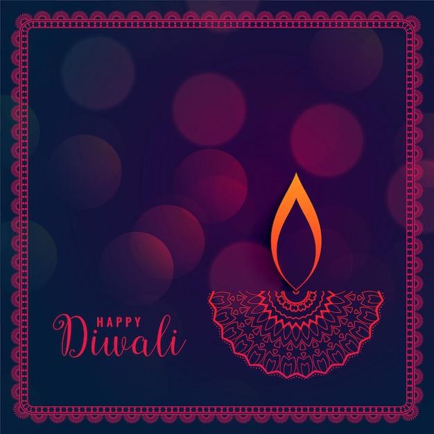 Purpurroter diwali festivalhintergrund mit bokeh effekt Kostenlosen Vektoren