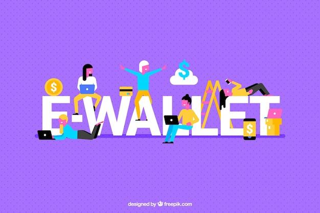 Purpurroter hintergrund mit e-brieftasche wort Kostenlosen Vektoren