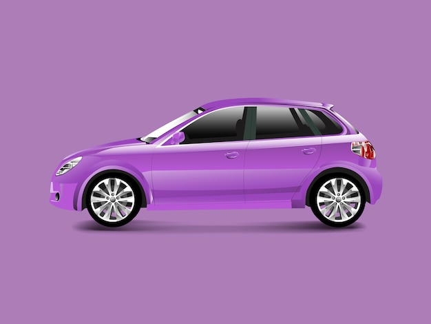 Purpurrotes hatchbackauto in einem purpurroten hintergrundvektor Kostenlosen Vektoren