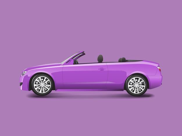 Purpurrotes kabriolett in einem purpurroten hintergrund Kostenlosen Vektoren