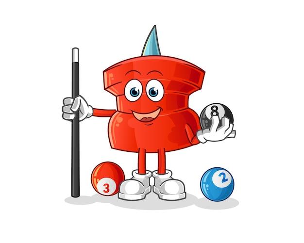Push pin spielt billardcharakter. cartoon maskottchen Premium Vektoren