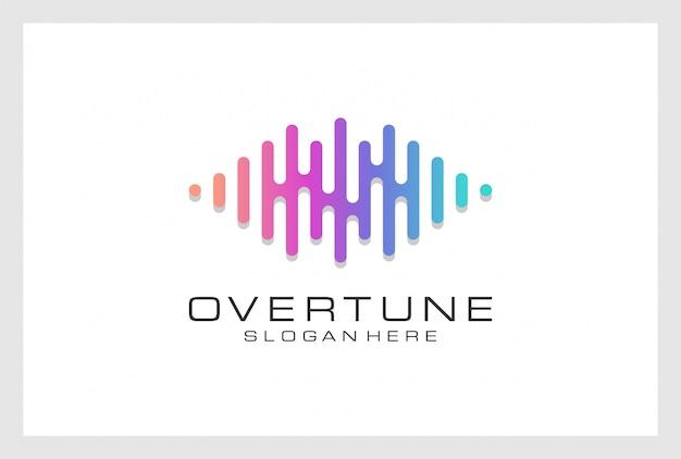 Pusle logo design premium vektor. logo kann für musik, multimedia, audio, aqualizer, aufnahme, nachtclub, dj, disco, store verwendet werden. Premium Vektoren