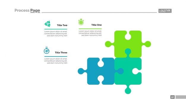 Puzzle-diagramm mit drei elementen vorlage Kostenlosen Vektoren