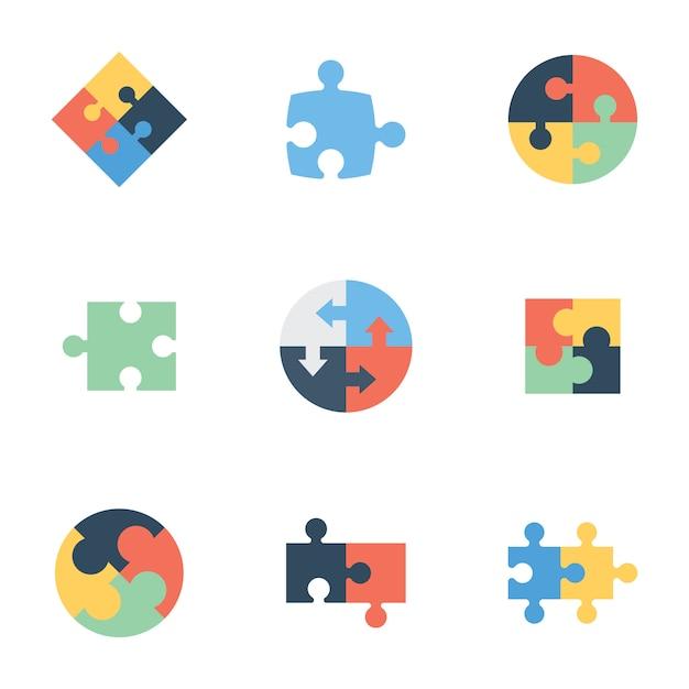Puzzle flache icons pack Premium Vektoren