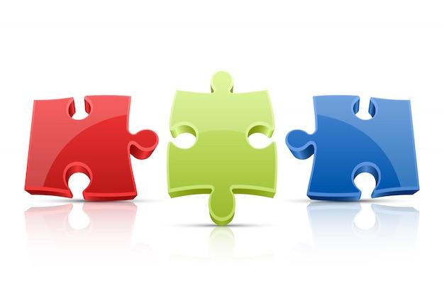 Puzzle-illustration auf weißem hintergrund Premium Vektoren