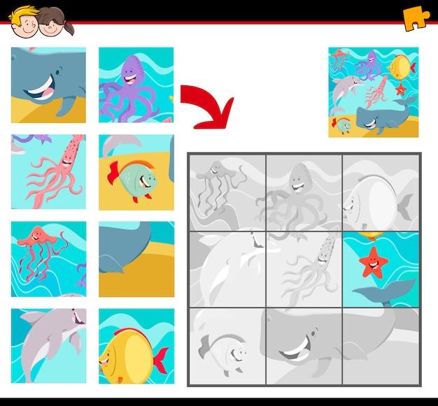 Puzzle-spiel für kinder mit sea life animals Premium Vektoren