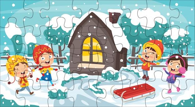 Puzzle-spiel illustration für kinder Premium Vektoren