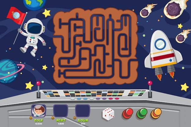 Puzzle-spiel-vorlage mit raumfahrer in der nacht Premium Vektoren