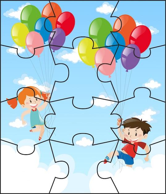 Puzzle-stücke mit kindern fliegen ballons Kostenlosen Vektoren