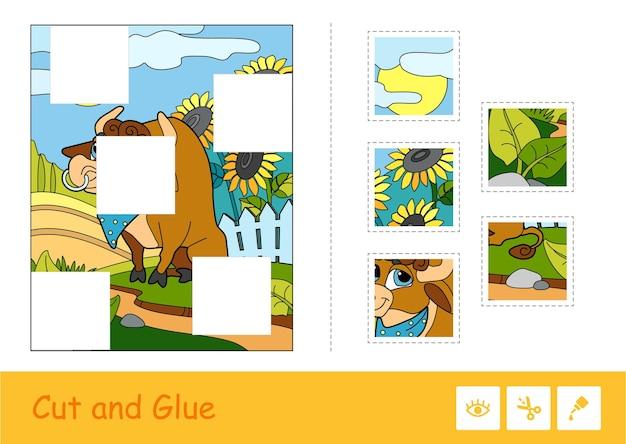 Puzzlespiel für kleine kinder mit niedlichem stier, der nahe dem hof weidet und fehlende rätsel. Premium Vektoren