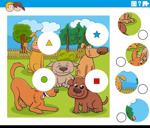 Puzzleteile mit hundecharakteren kombinieren Premium Vektoren