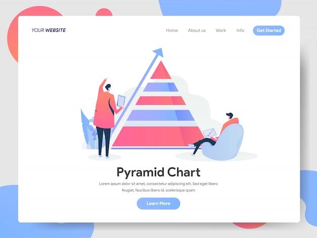 Pyramid chart banner der landing page Premium Vektoren