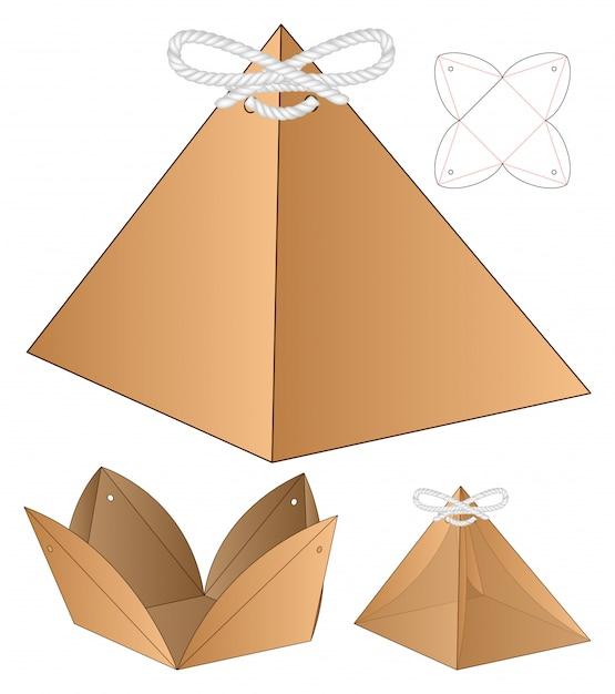Pyramid shape box verpackung vorgestanzte template-design Premium Vektoren