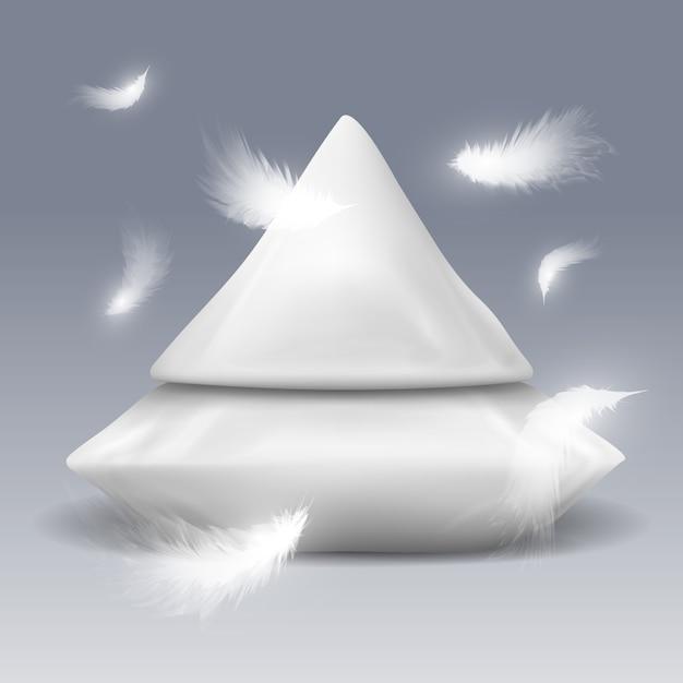 Pyramide aus kissen mit weißen federn Premium Vektoren