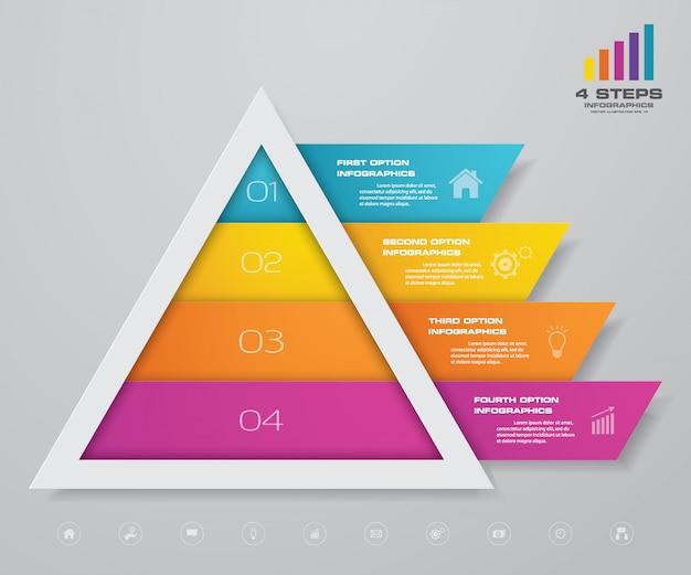 Pyramide infografik mit textvorlage auf jeder ebene. Premium Vektoren