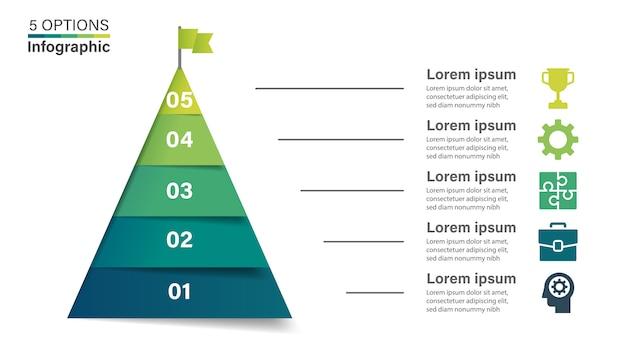 Pyramide infographik vorlage mit 5 optionen. Premium Vektoren