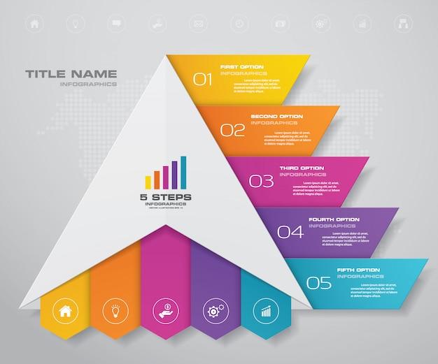 Pyramide mit freiem platz für text auf jeder ebene. Premium Vektoren